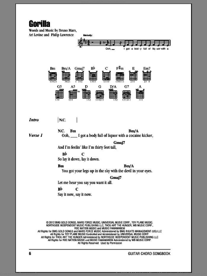 Gorilla sheet music for guitar (chords) by Philip Lawrence, Ari Levine and Bruno Mars. Score Image Preview.