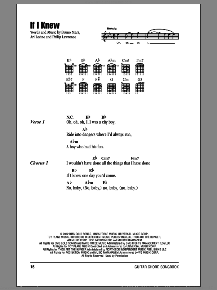 If I Knew sheet music for guitar (chords) by Bruno Mars, Ari Levine and Philip Lawrence. Score Image Preview.