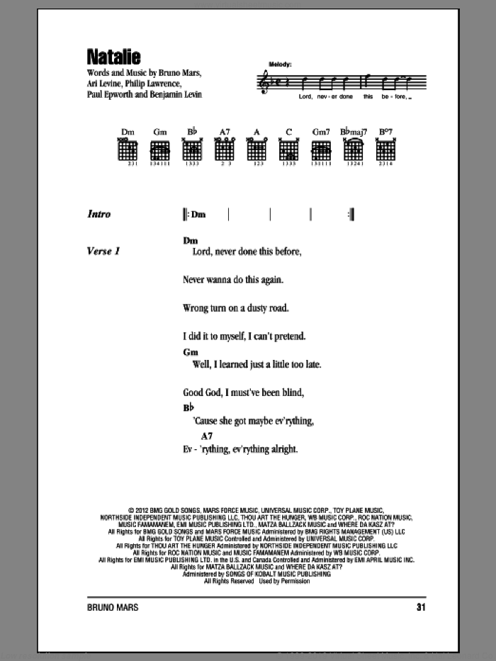Natalie sheet music for guitar (chords) by Philip Lawrence, Ari Levine, Benjamin Levin, Bruno Mars and Paul Epworth. Score Image Preview.