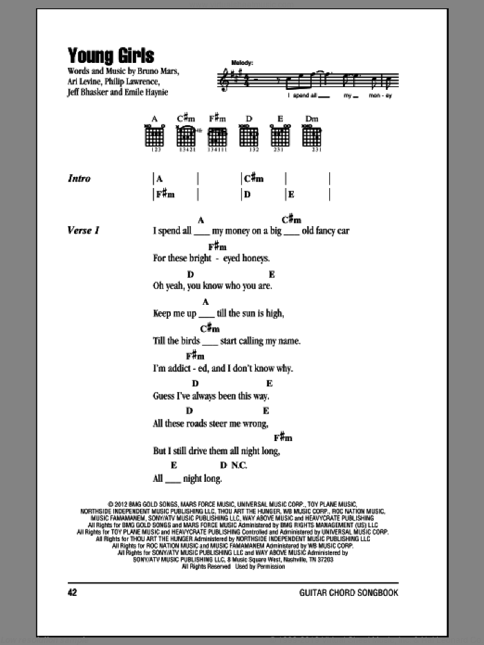 Young Girls sheet music for guitar (chords) by Philip Lawrence