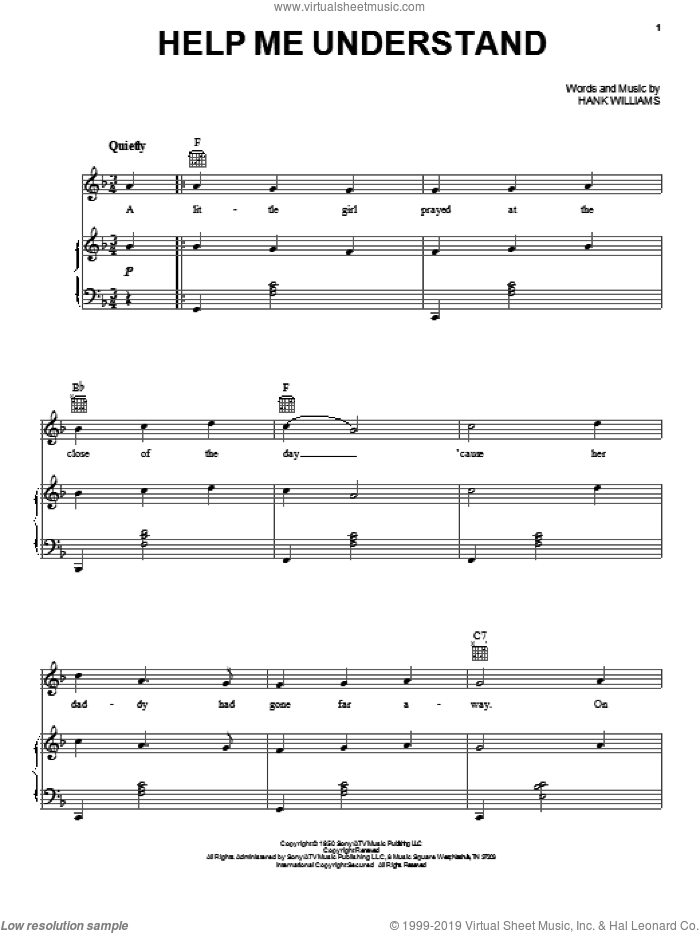 Help Me Understand sheet music for voice, piano or guitar by Hank Williams. Score Image Preview.