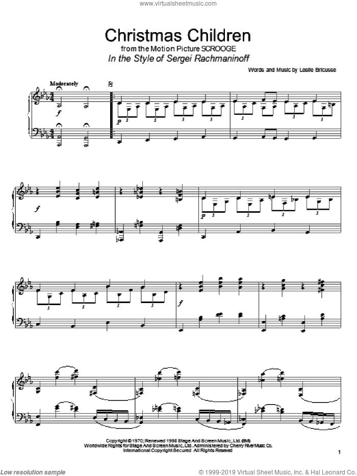 Christmas Children sheet music for piano solo by Leslie Bricusse and David Pearl, intermediate skill level