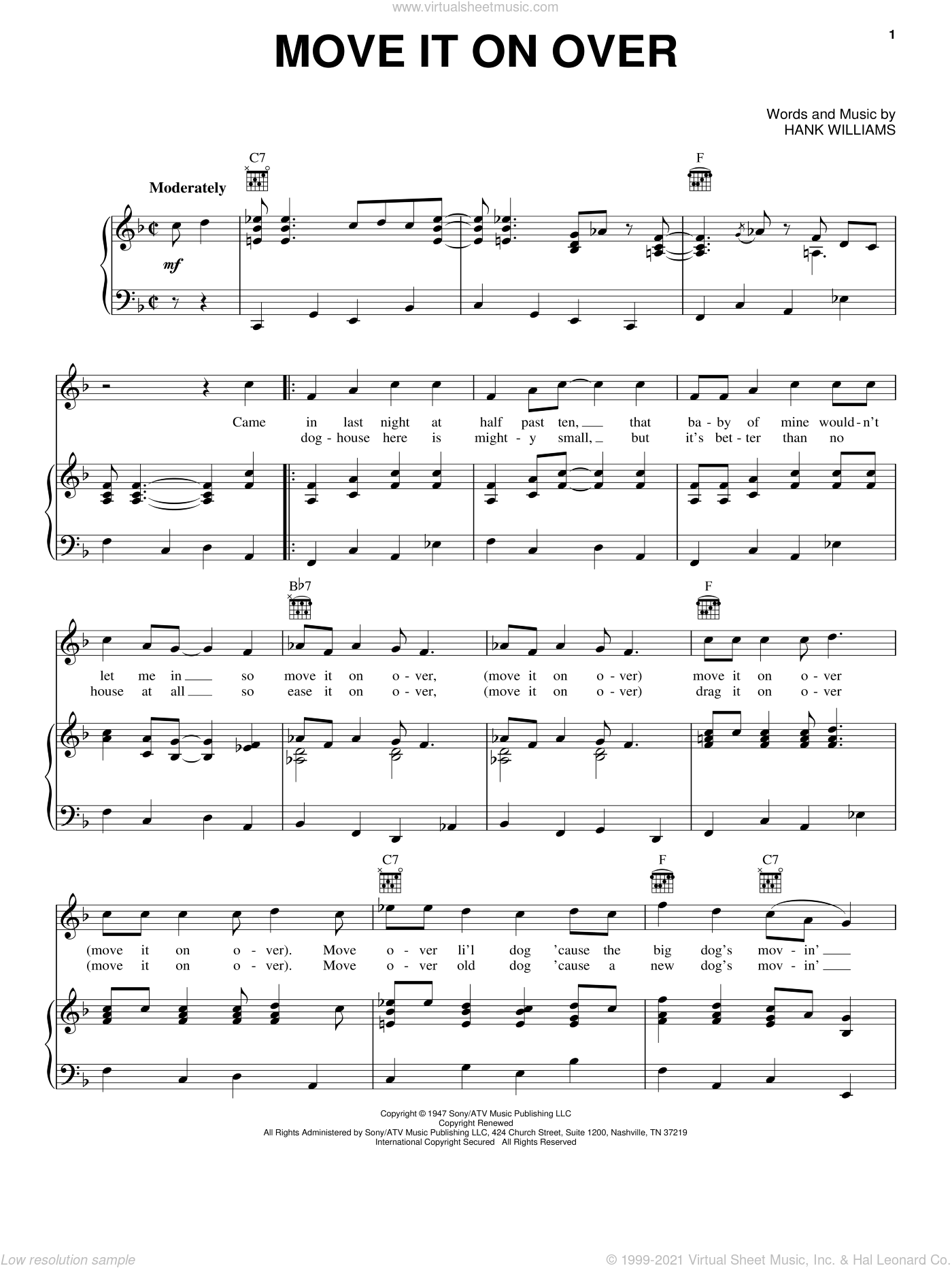 Move It On Over sheet music for voice, piano or guitar by Hank Williams. Score Image Preview.