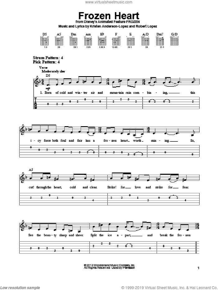 Frozen Heart sheet music for guitar solo (easy tablature) by Robert Lopez and Kristen Anderson-Lopez. Score Image Preview.