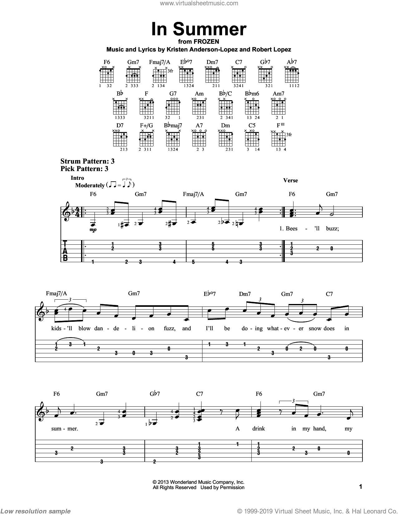 In Summer sheet music for guitar solo (easy tablature) by Kristen Anderson-Lopez and Robert Lopez. Score Image Preview.