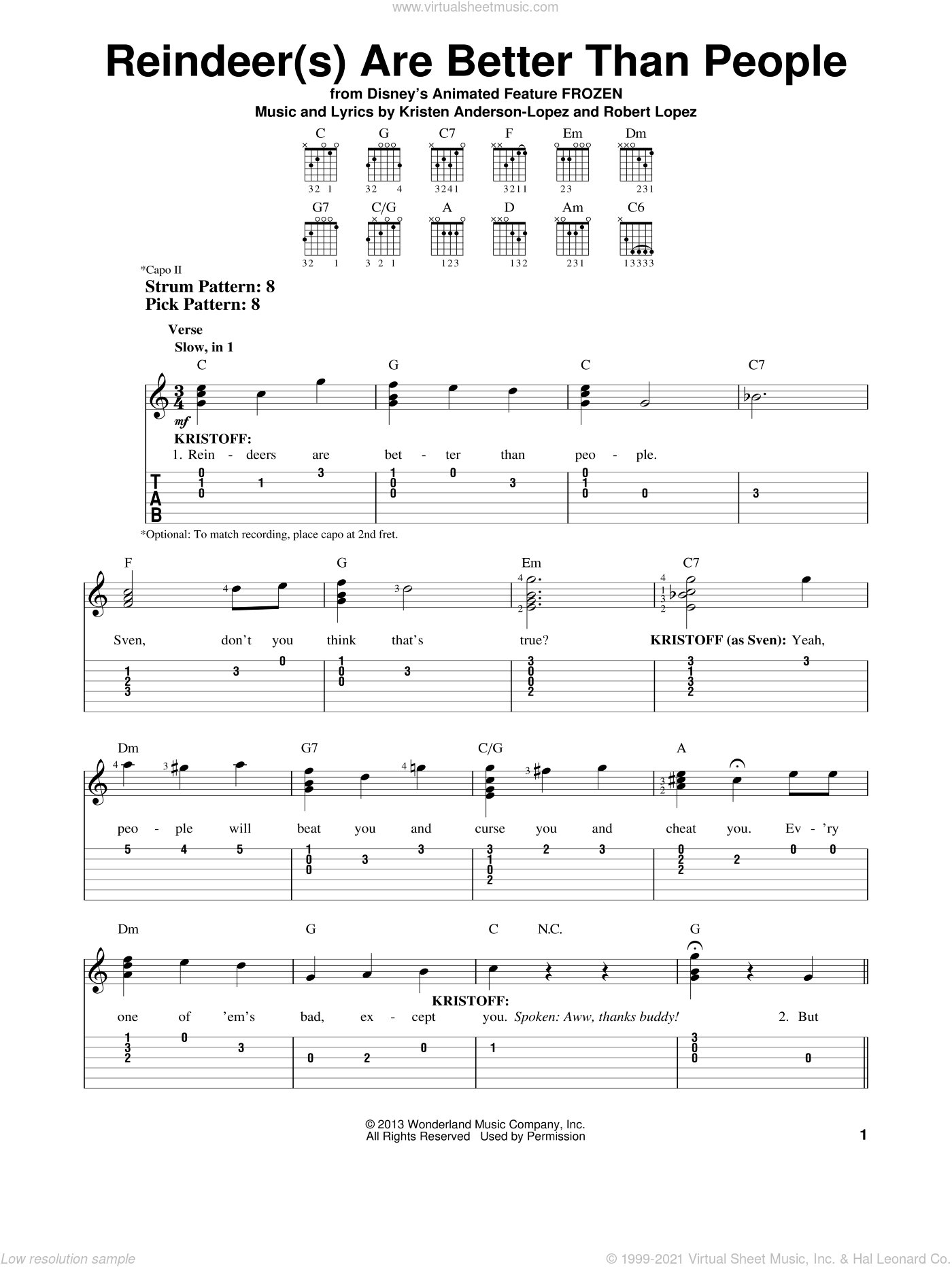 Reindeer(s) Are Better Than People sheet music for guitar solo (easy tablature) by Kristen Anderson-Lopez and Robert Lopez. Score Image Preview.