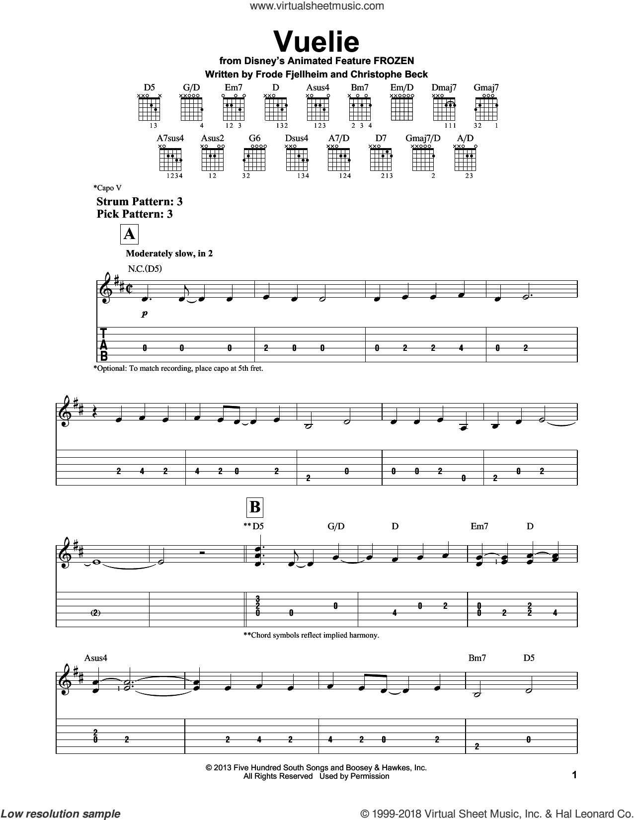 Vuelie sheet music for guitar solo (easy tablature) by Robert Lopez, Kristen Anderson-Lopez, Christophe Beck and Frode Fjellheim, easy guitar (easy tablature)