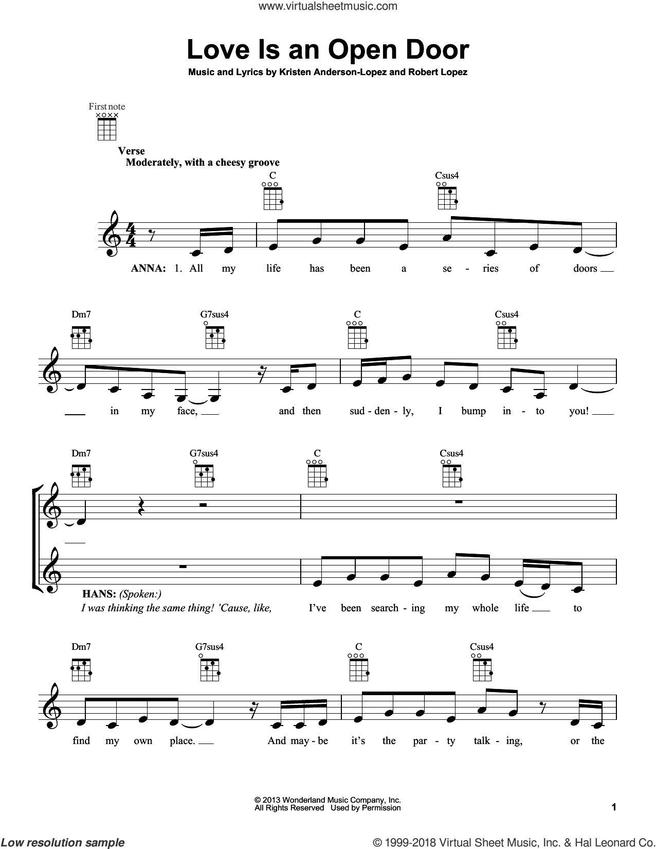 Love Is An Open Door (from Disney's Frozen) sheet music for ukulele by Kristen Bell & Santino Fontana, Kristen Anderson-Lopez and Robert Lopez, intermediate skill level