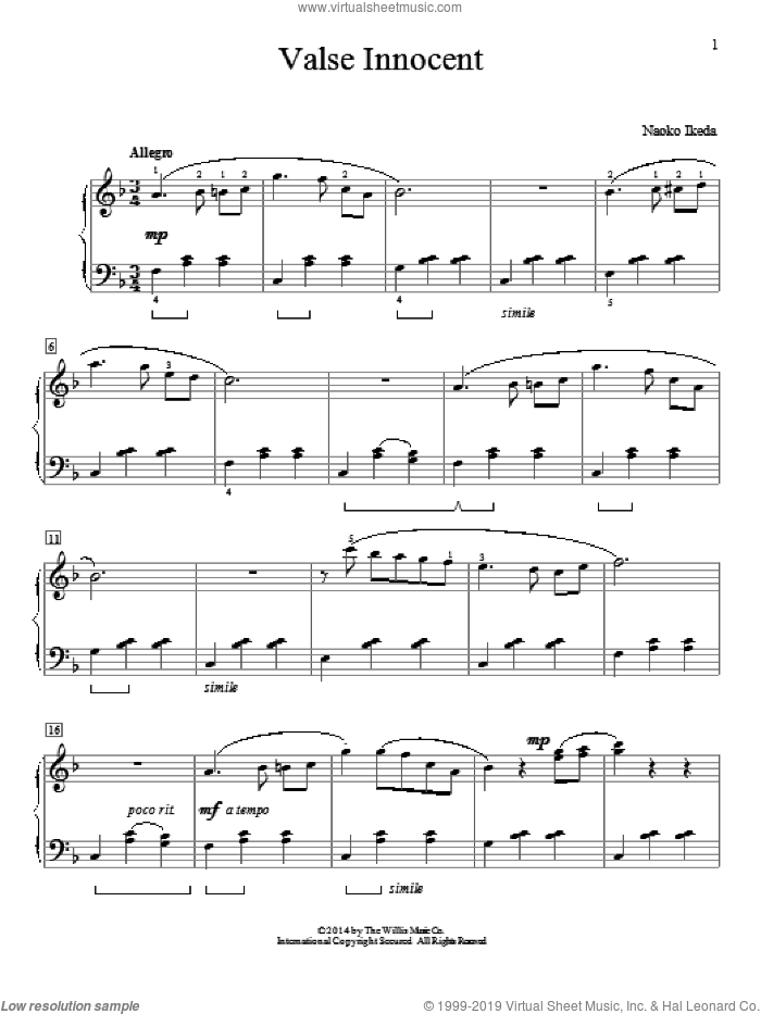 Valse Innocent sheet music for piano solo by Naoko Ikeda, intermediate skill level