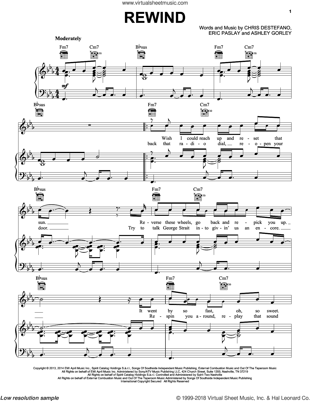 Rewind sheet music for voice, piano or guitar by Rascal Flatts, Ashley Gorley, Chris Destefano and Eric Paslay. Score Image Preview.