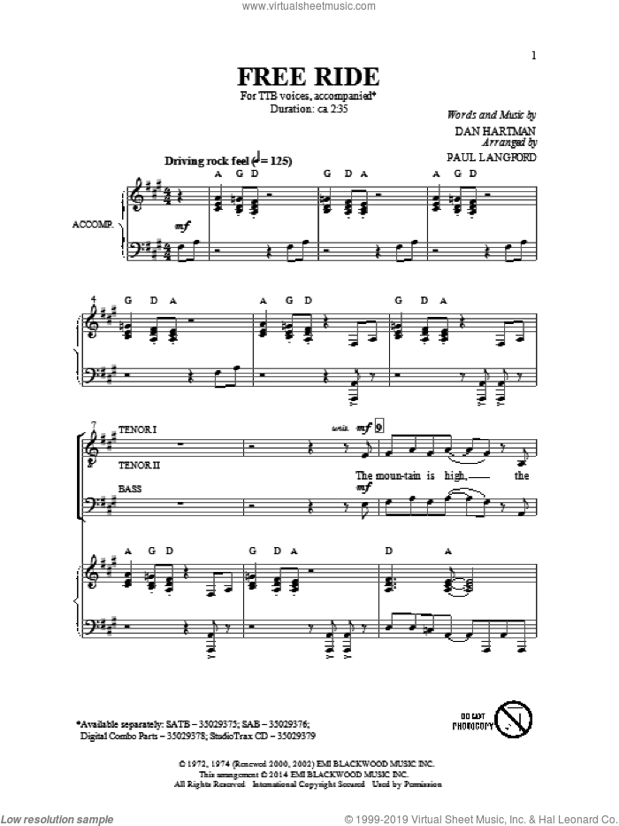 Free Ride sheet music for choir and piano (TTBB) by Paul Langford, Dan Hartman and Edgar Winter Group. Score Image Preview.
