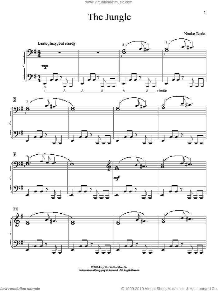 The Jungle sheet music for piano solo by Naoko Ikeda, intermediate skill level