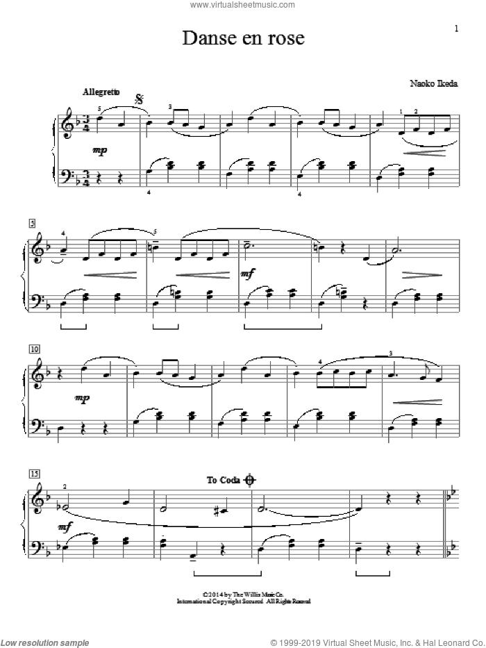 Danse En Rose sheet music for piano solo by Naoko Ikeda, intermediate skill level