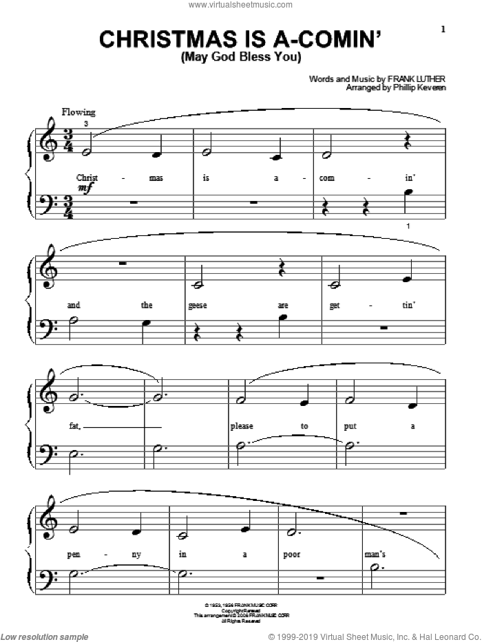 Christmas Is A-Comin' (May God Bless You) sheet music for piano solo (big note book) by Frank Luther and Phillip Keveren, easy piano (big note book)