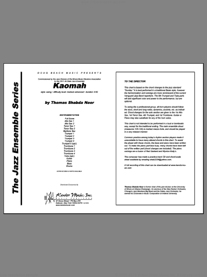 Kaomah (COMPLETE) sheet music for jazz band by Noor, intermediate. Score Image Preview.