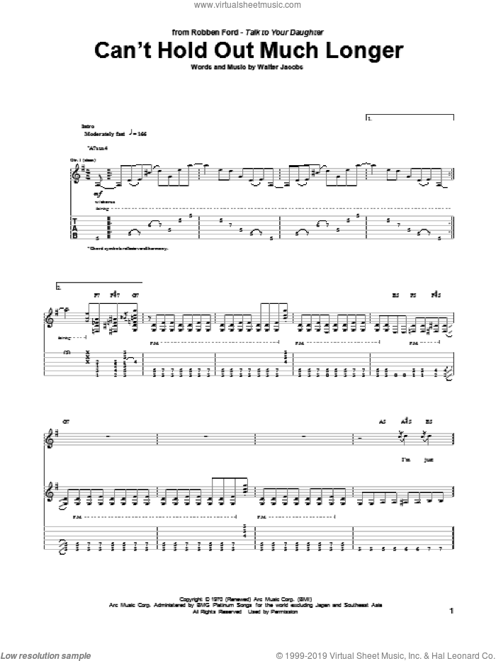 Can't Hold Out Much Longer sheet music for guitar (tablature) by Robben Ford, Little Walter and Walter Jacobs, intermediate skill level