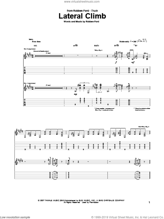 Lateral Climb sheet music for guitar (tablature) by Robben Ford. Score Image Preview.