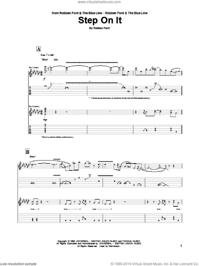 Step On It sheet music for guitar (tablature) by Robben Ford. Score Image Preview.
