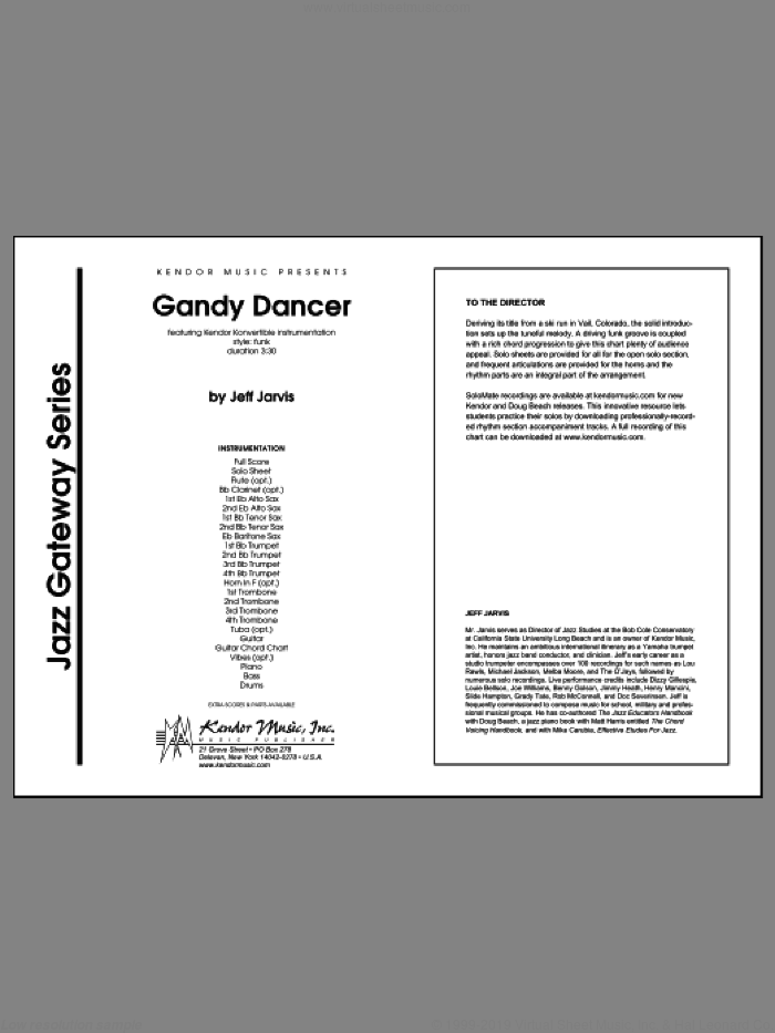 Gandy Dancer (COMPLETE) sheet music for jazz band by Jeff Jarvis, intermediate. Score Image Preview.