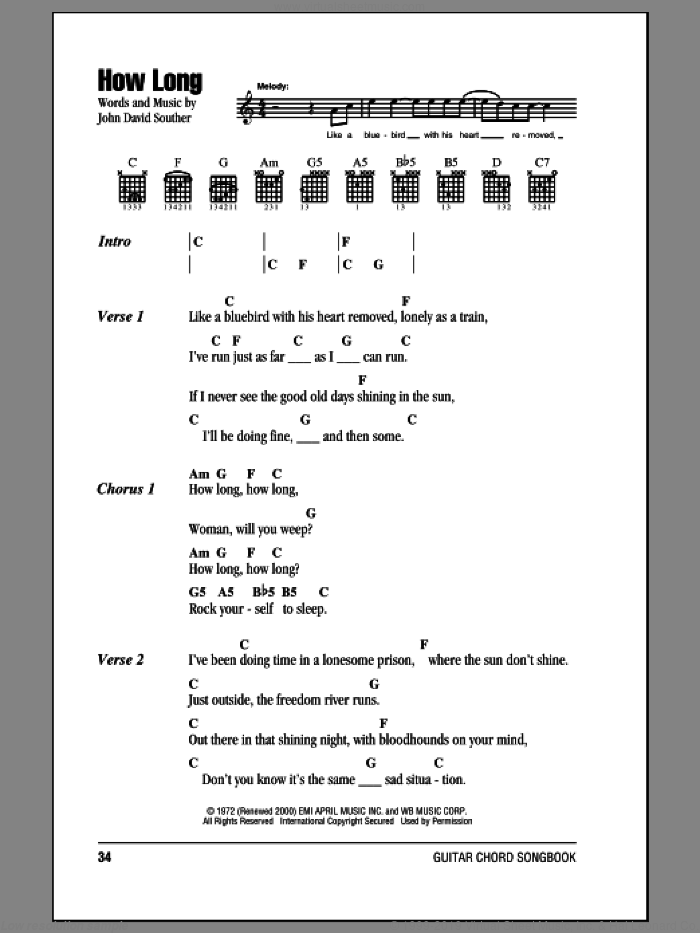 How Long sheet music for guitar (chords) by Eagles and John David Souther, intermediate. Score Image Preview.