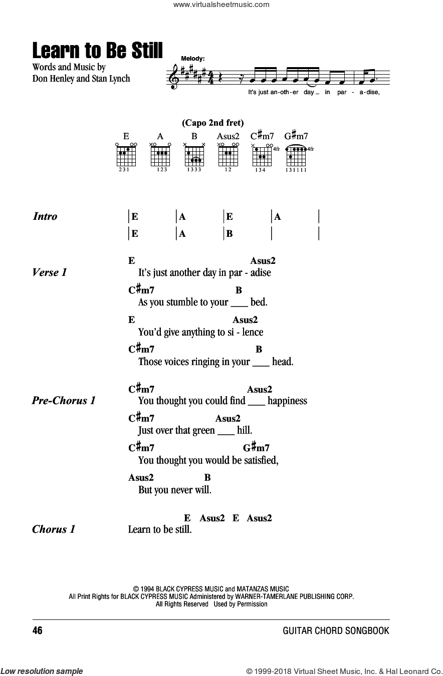 Learn To Be Still sheet music for guitar (chords) by Eagles, Don Henley and Stan Lynch, intermediate. Score Image Preview.