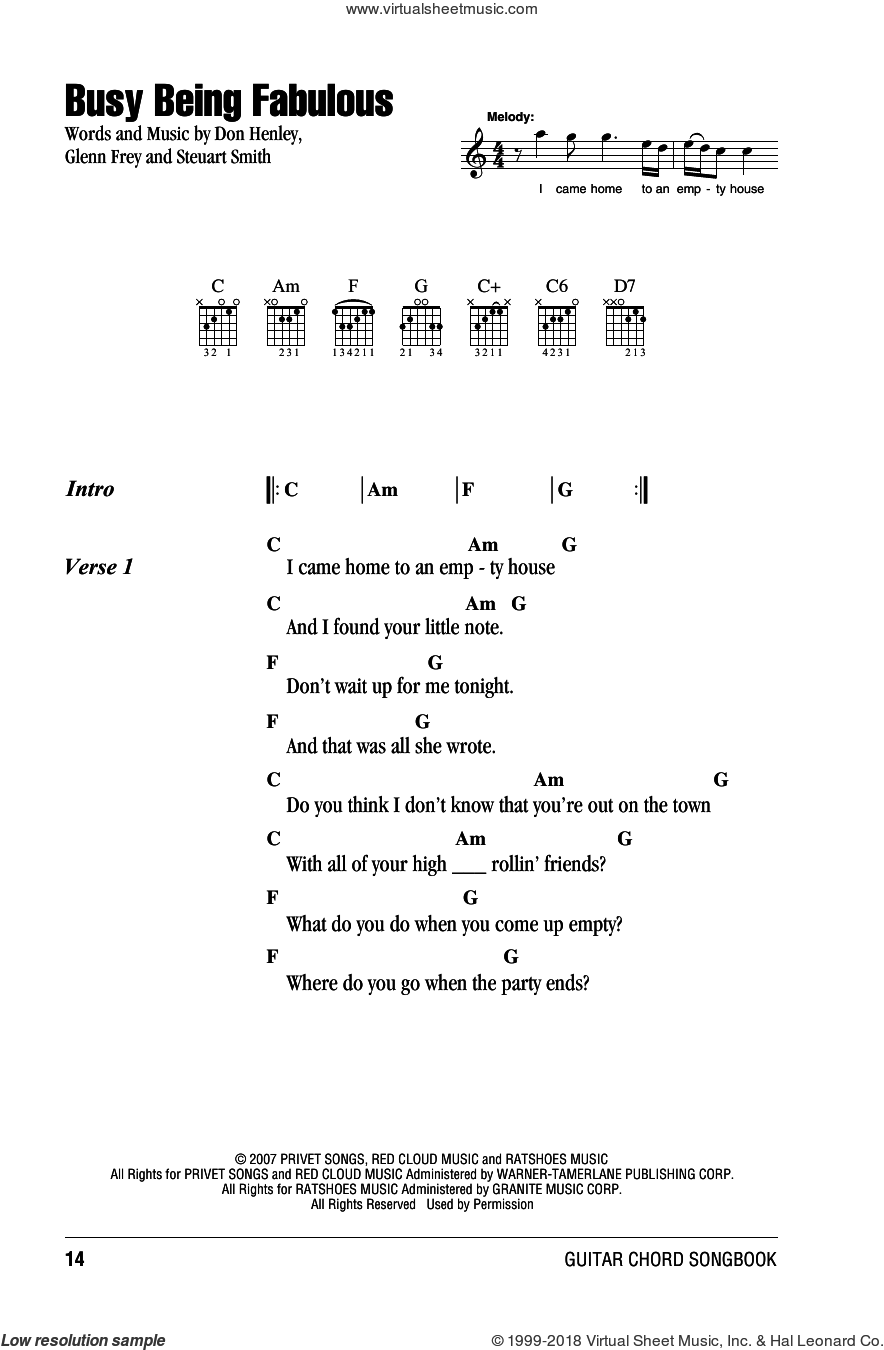 Eagles Busy Being Fabulous Sheet Music For Guitar Chords