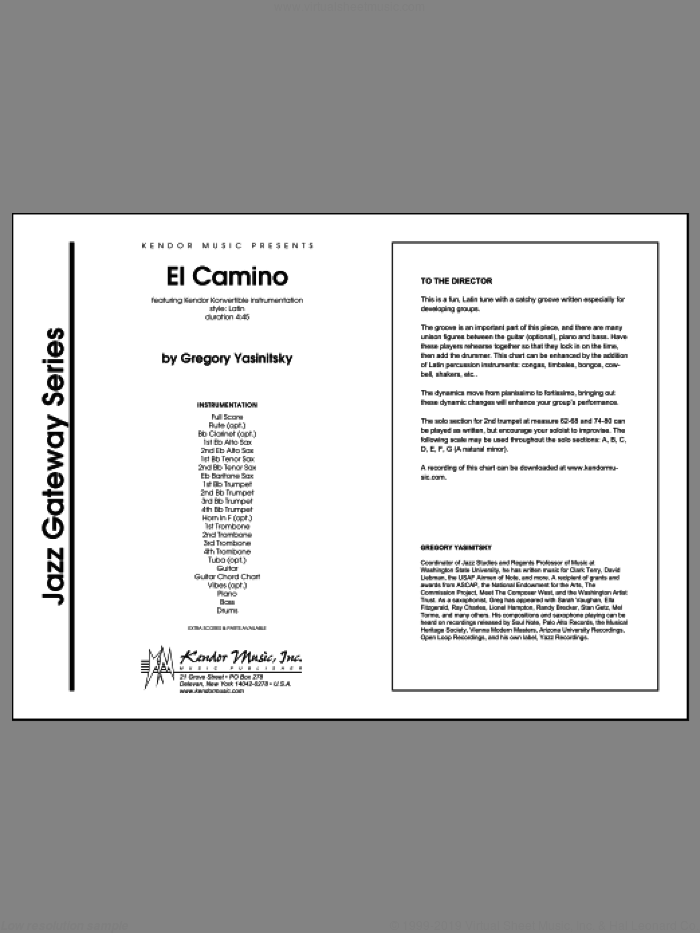 El Camino (COMPLETE) sheet music for jazz band by Gregory Yasinitsky, intermediate skill level
