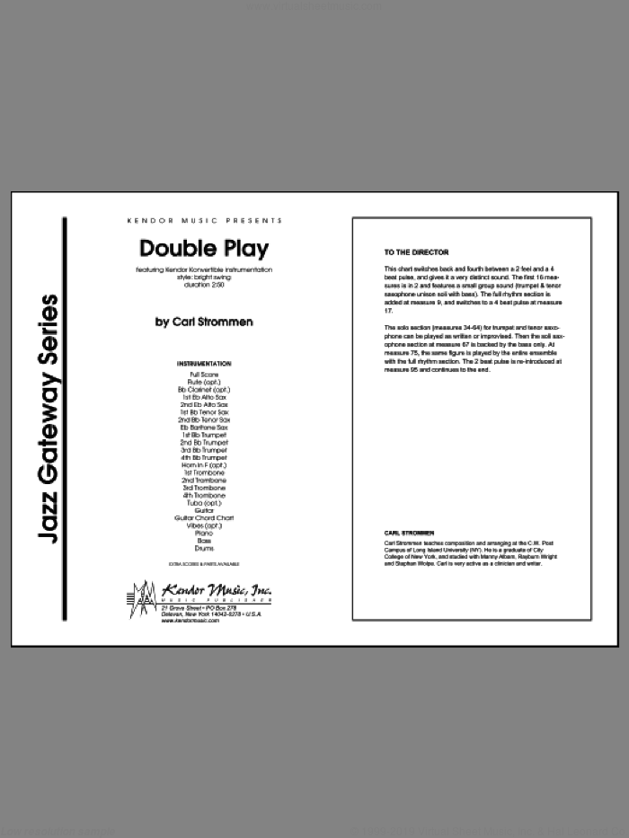 Double Play (COMPLETE) sheet music for jazz band by Carl Strommen, intermediate. Score Image Preview.