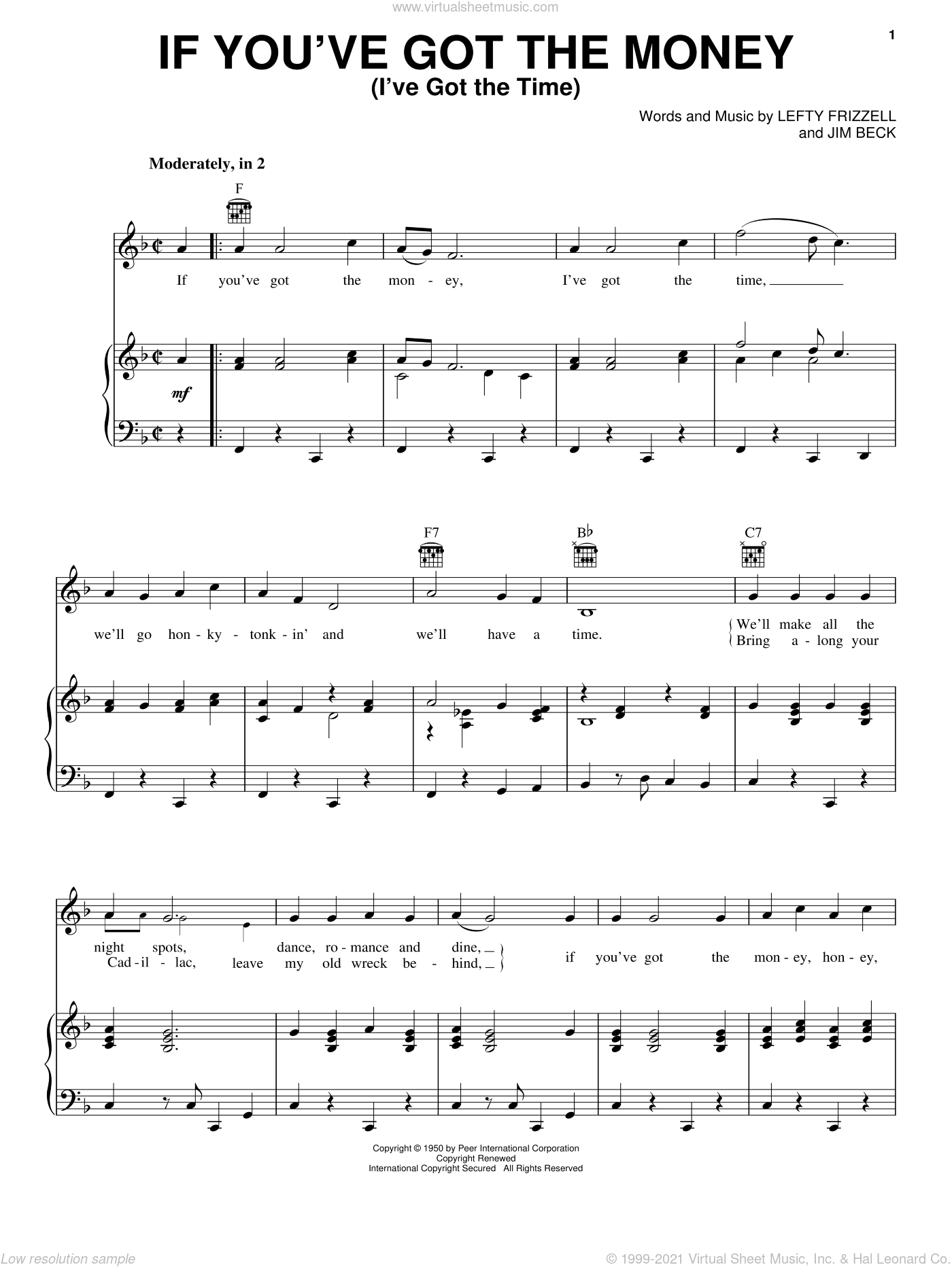 If You've Got The Money (I've Got The Time) sheet music for voice, piano or guitar by Jim Beck, Willie Nelson and Lefty Frizzell. Score Image Preview.