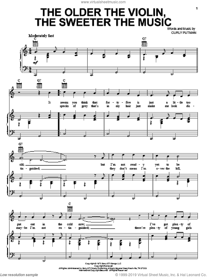 The Older The Violin, The Sweeter The Music sheet music for voice, piano or guitar by Hank Thompson and Curly Putman, intermediate skill level