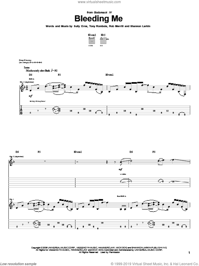 Bleeding Me sheet music for guitar (tablature) by Godsmack. Score Image Preview.