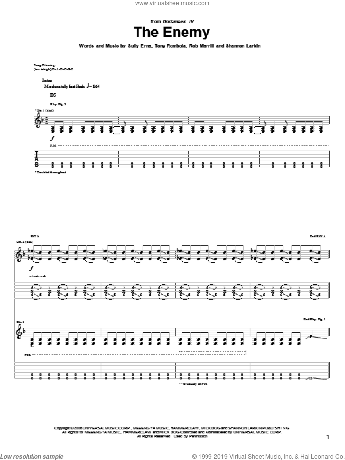 The Enemy sheet music for guitar (tablature) by Godsmack, Rob Merrill, Shannon Larkin, Sully Erna and Tony Rombola, intermediate. Score Image Preview.