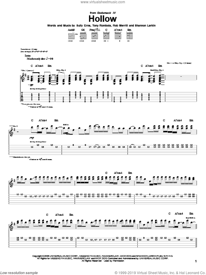 Hollow sheet music for guitar (tablature) by Godsmack. Score Image Preview.
