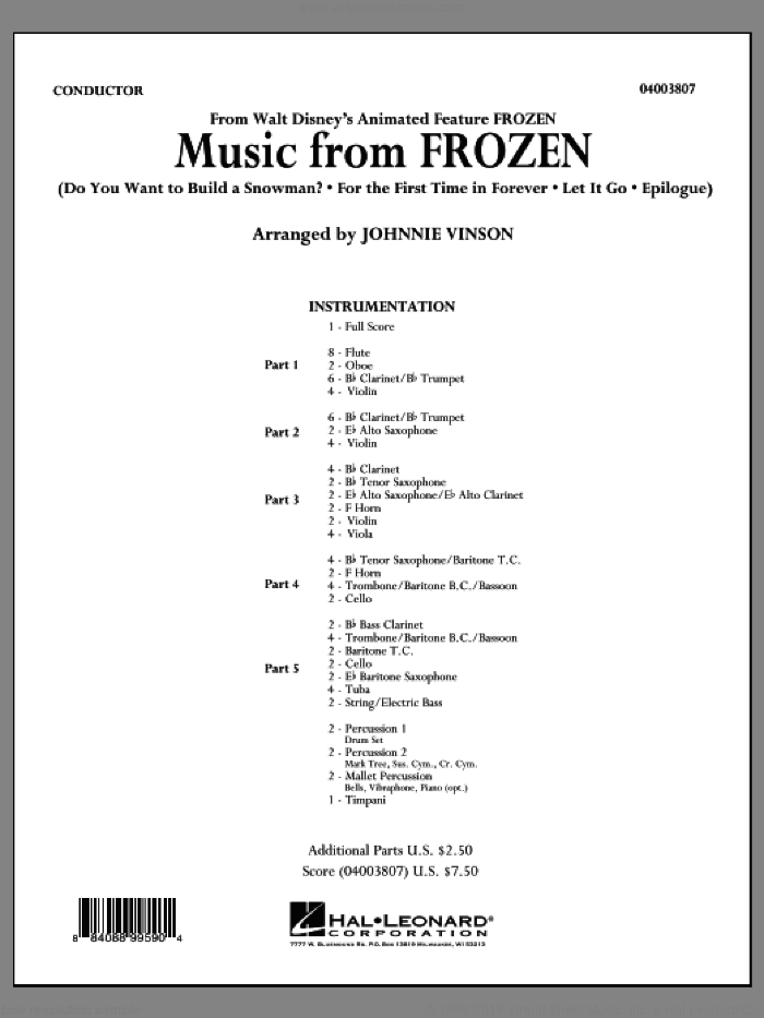 Music from 'Frozen' (COMPLETE) sheet music for concert band by Johnnie Vinson, intermediate skill level