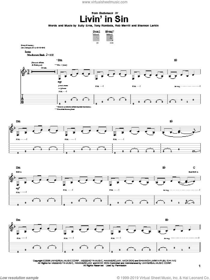Livin' In Sin sheet music for guitar (tablature) by Godsmack, Rob Merrill, Shannon Larkin, Sully Erna and Tony Rombola, intermediate skill level
