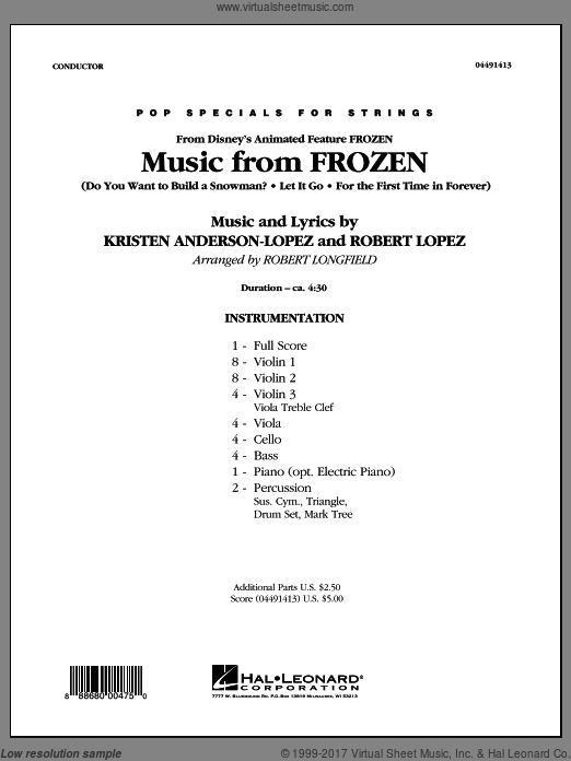 Music from Frozen (COMPLETE) sheet music for orchestra by Kristen Anderson-Lopez