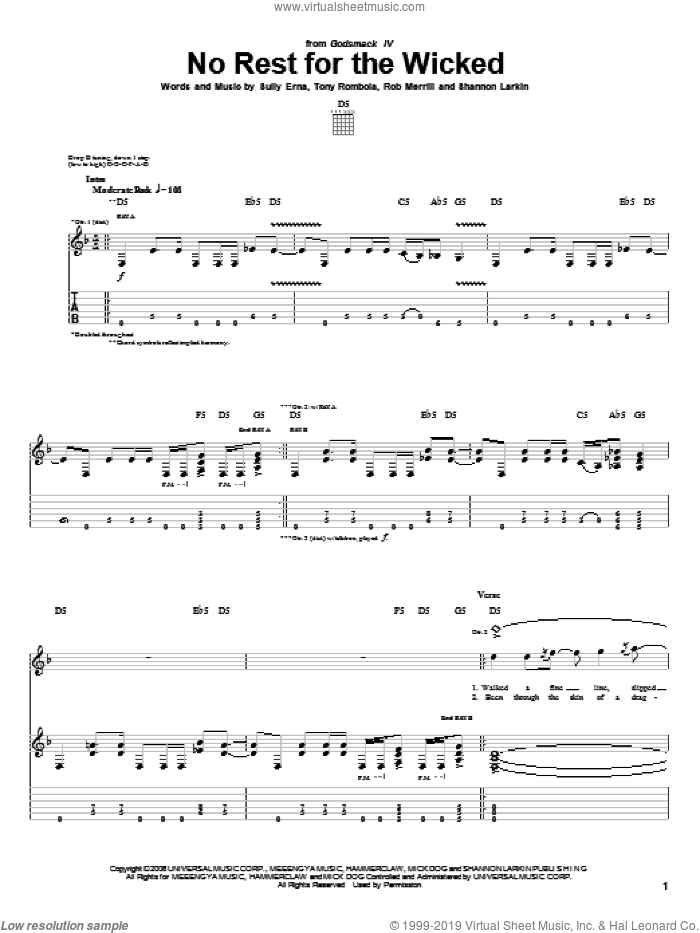 No Rest For The Wicked sheet music for guitar (tablature) by Tony Rombola and Sully Erna. Score Image Preview.
