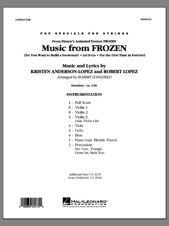 Music from Frozen (COMPLETE) sheet music for orchestra by Robert Lopez, Kristen Anderson-Lopez and Robert Longfield, intermediate skill level
