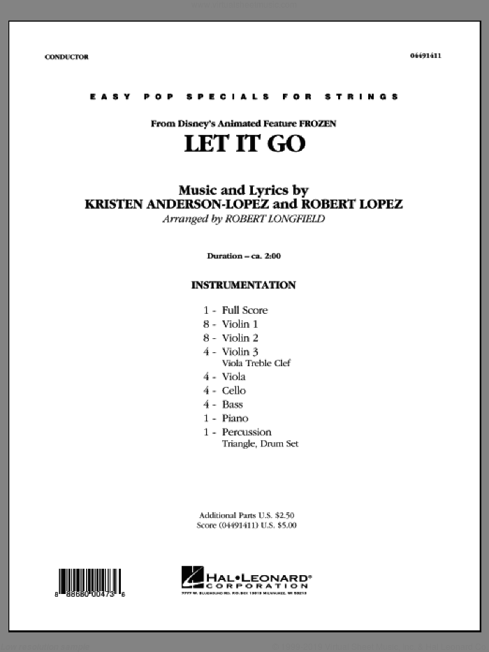Anderson Lopez Let It Go From Frozen Sheet Music Complete