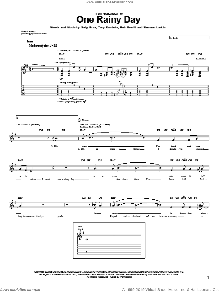 One Rainy Day sheet music for guitar (tablature) by Godsmack, Rob Merrill, Shannon Larkin, Sully Erna and Tony Rombola, intermediate