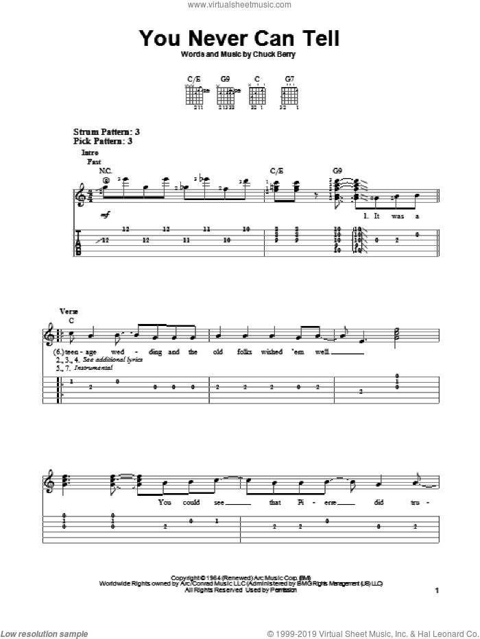You Never Can Tell sheet music for guitar solo (easy tablature) by Chuck Berry, easy guitar (easy tablature)