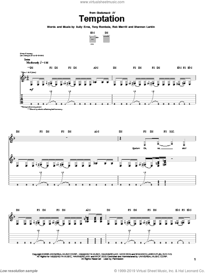 Temptation sheet music for guitar (tablature) by Tony Rombola and Sully Erna. Score Image Preview.