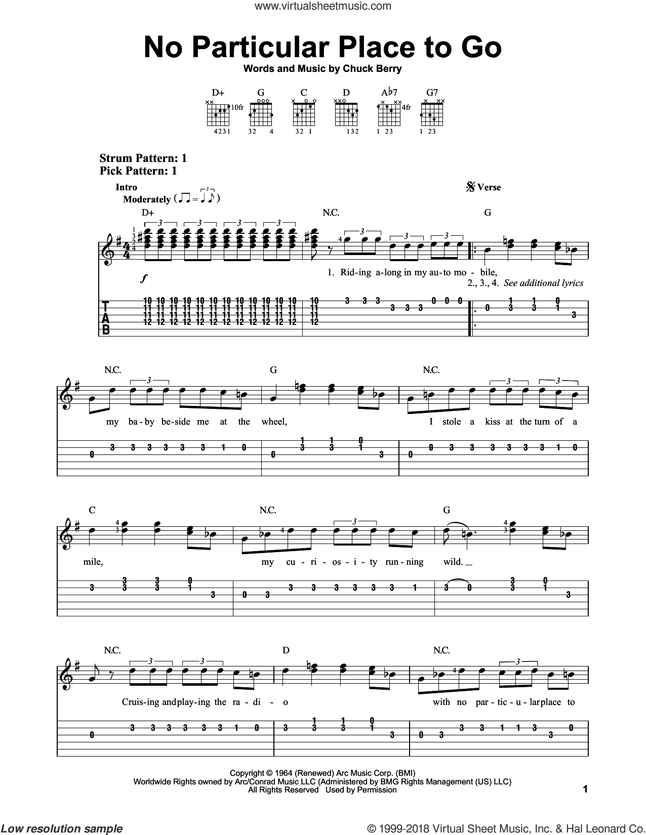 No Particular Place To Go sheet music for guitar solo (easy tablature) by Chuck Berry, easy guitar (easy tablature)