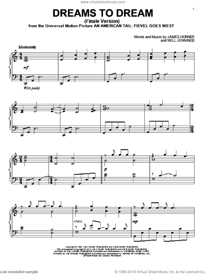 Dreams To Dream (Finale Version) sheet music for piano solo by Linda Ronstadt, James Horner and Will Jennings, intermediate piano. Score Image Preview.