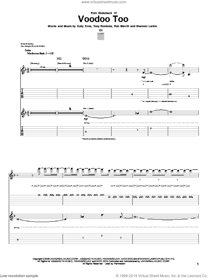 Voodoo Too sheet music for guitar (tablature) by Tony Rombola and Sully Erna. Score Image Preview.