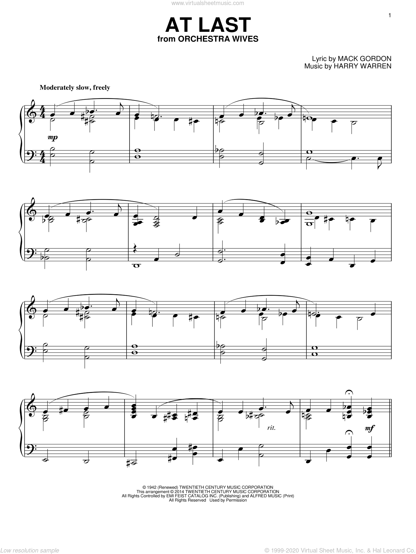At Last sheet music for piano solo by Mack Gordon