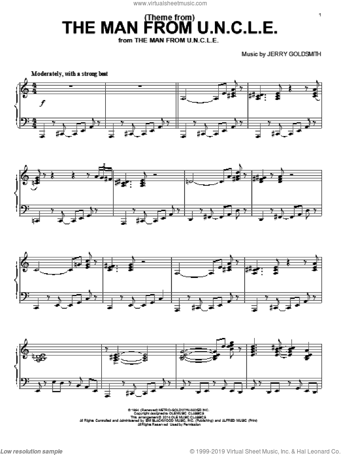 (Theme From) The Man From U.N.C.L.E. sheet music for piano solo by Jerry Goldsmith, intermediate skill level