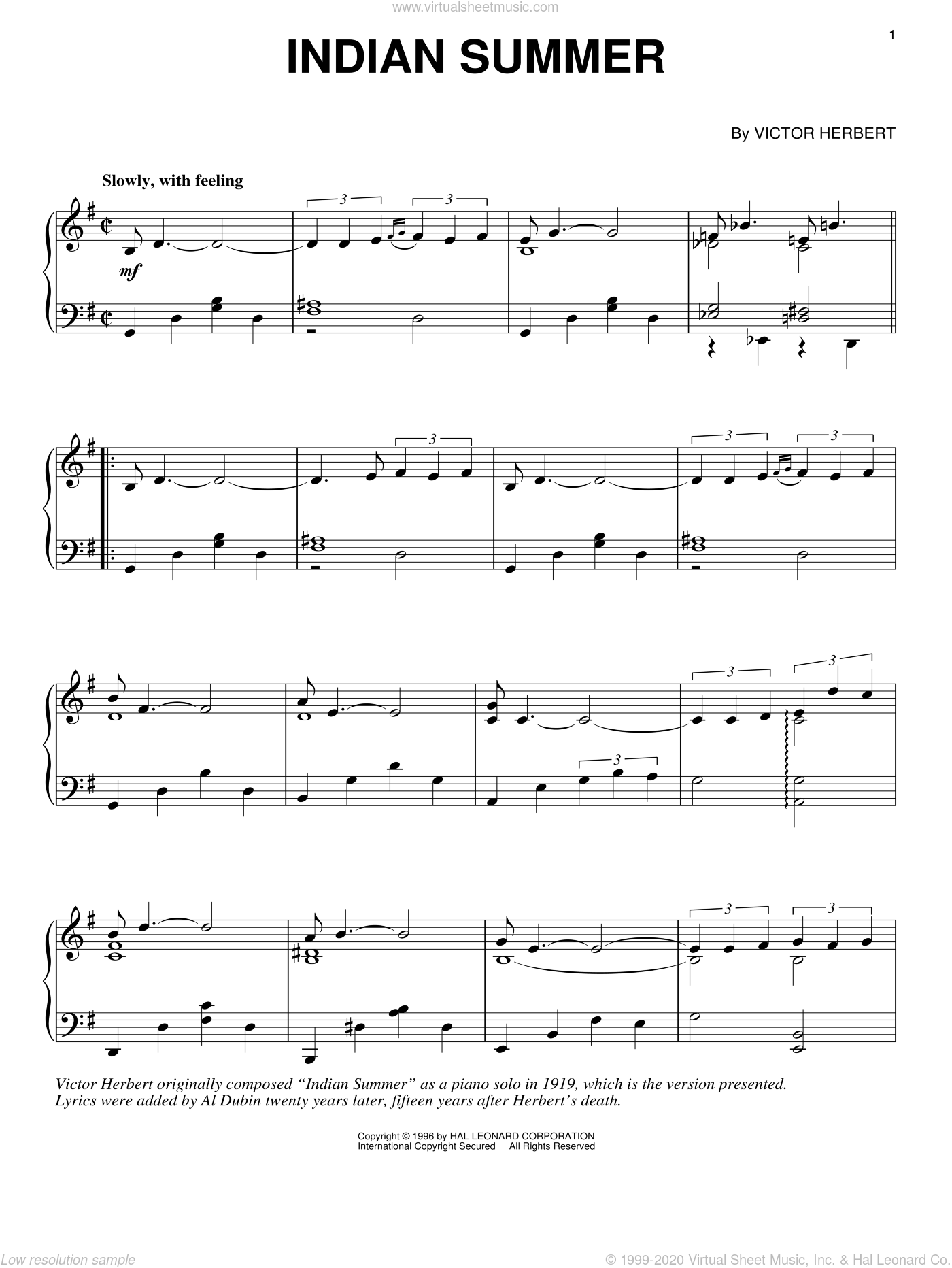 Indian Summer sheet music for piano solo by Victor Herbert. Score Image Preview.