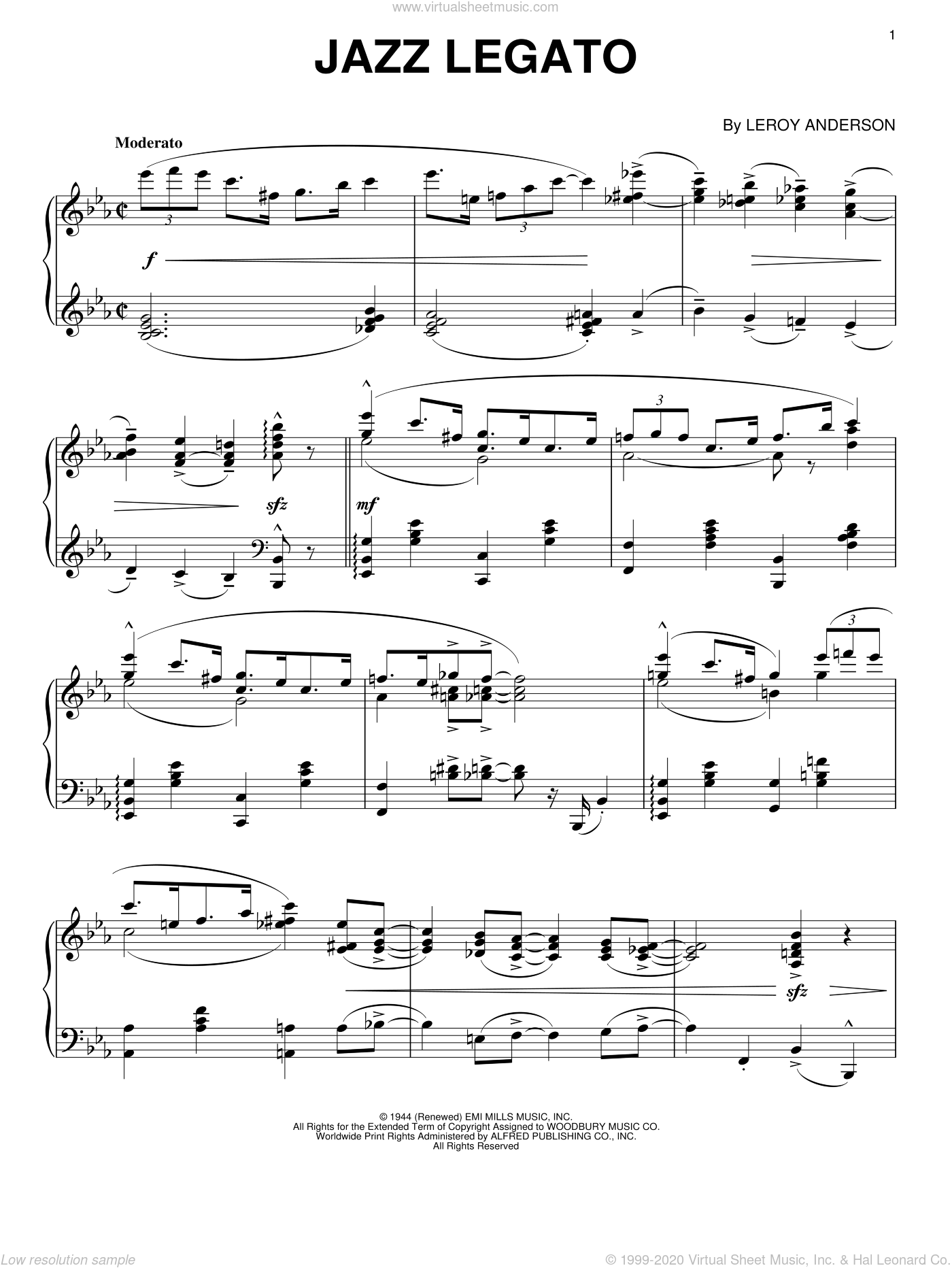 Jazz Legato sheet music for piano solo by Leroy Anderson. Score Image Preview.