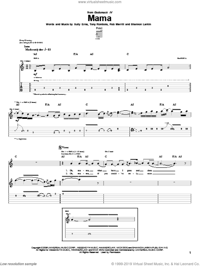 Mama sheet music for guitar (tablature) by Godsmack, intermediate